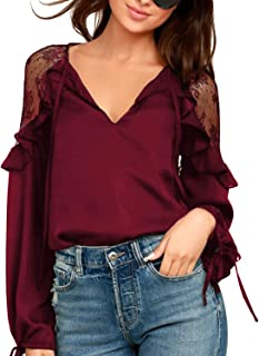 Womens Chiffon Blouse Tie V Neck Long Sleeve Lace Shirt Ruffles Chic Tops