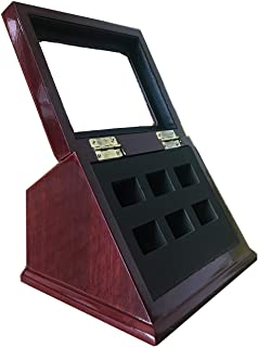 TIKIYOGI Sports Championship Rings Wooden Display case Shadow Box Without Rings (6 Slots)