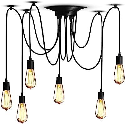 Vintage Edison Lámpara Colgante de Techo Lámpara Industrial Ajustable Araña negra, 1/3/5/6 Cabezas (6 Portalámparas)