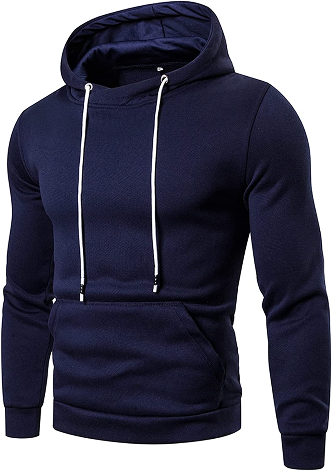 Huangse Men's Long Sleeve Solid Sweatshirt Casual Drawstring Hooded Pullover Fitness Running Athletic Kangaroo Pocket Outfit