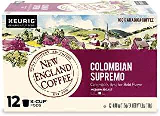 New England Coffee Colombian Supremo, Single Serve Coffee K Cup Pods, Medium Roast, 12Count (Pack of 6)