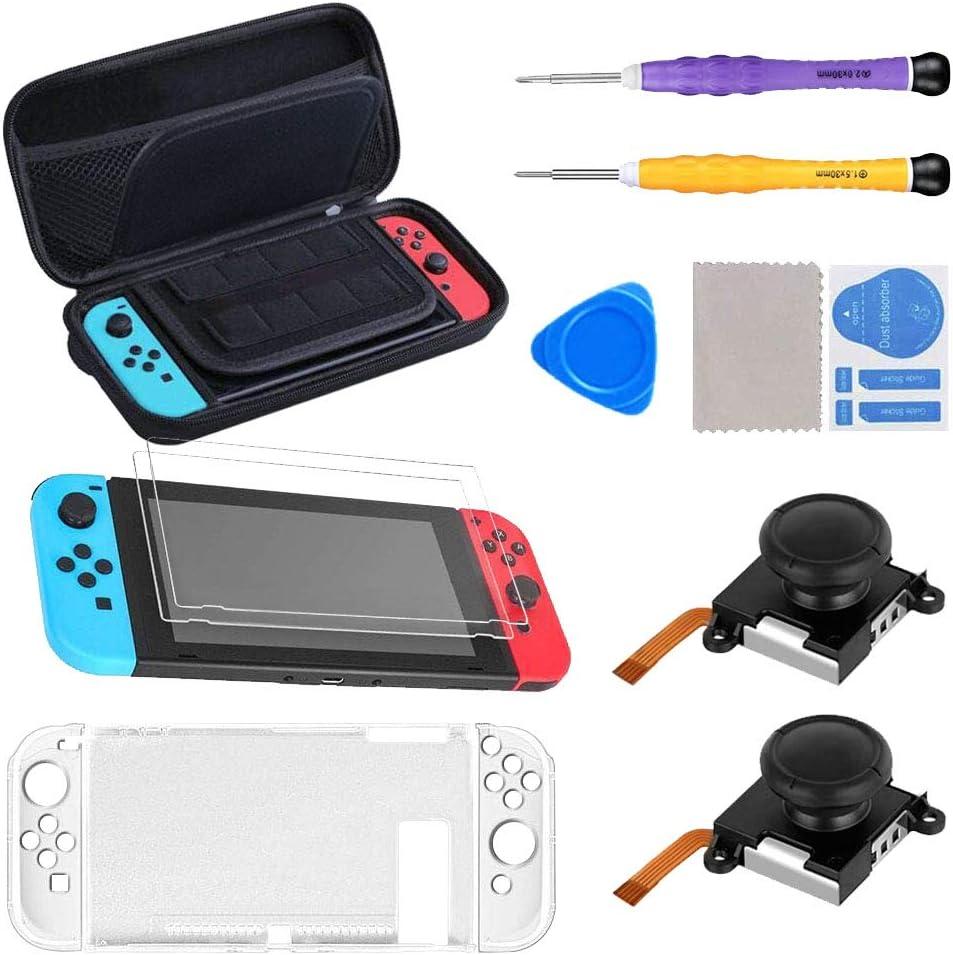 SUPERSUN 11 en 1 Accesorios para Nintendo Switch, Funda para Nintendo Switch con 20 Cartucho de Juegos   2 Protector de Pantalla   Carcasa de Plastico   2 Recambios de Joysticks