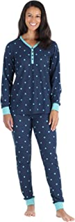 Women's Thermal Long Sleeve Henley and Jogger Pants Pajama Set
