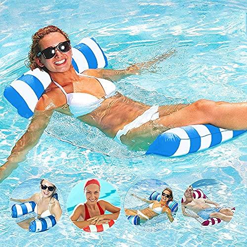 AUMIDY Amaca Gonfiabile Piscina, Amaca da Mare Gonfiabile 4 in 1 Amaca di Acqua Letto Galleggiante Gonfiabile Portatile per Piscina Spiaggia Mare Rilassante per Prendere Il Sole Partito (Blu)