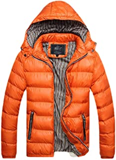 neveraway Men's Plus Size Solid Colored Hoode Winter Thicken Warm Parka Jacket