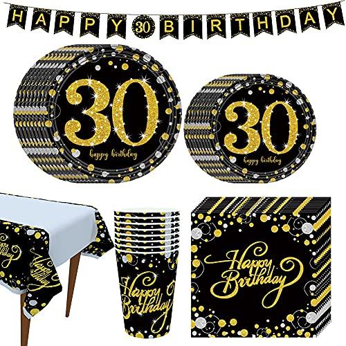 Amycute Forniture per Feste di 30 Anni Compleanno, 30 Compleanno Piatti Bicchieri Tovaglioli Tovaglia Banner per 30 Compleanno Decorazione(Oro Nero)