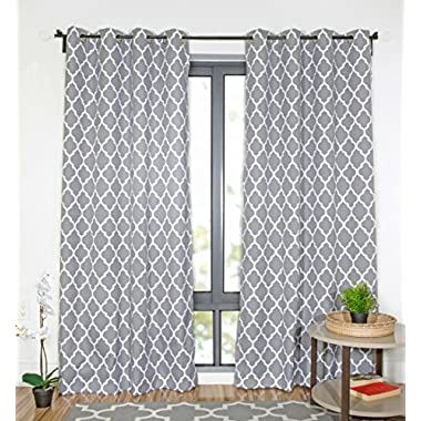 WRGHOME Moroccan Grommet Home Curtains 50  X 84  Gray (2 Panels)