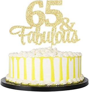 PALASASA Gold Glitter 65& Fabulous cake topper - 65 Anniversary/Birthday Cake Topper Party Decoration (65th)