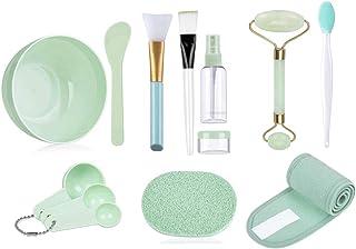 Dolson Face Mask Mixing Bowl Set of 13 Pcs with Face Massage Jade Roller Lip Exfoliate Brush Spa Headband Bowl Stick Spatu...