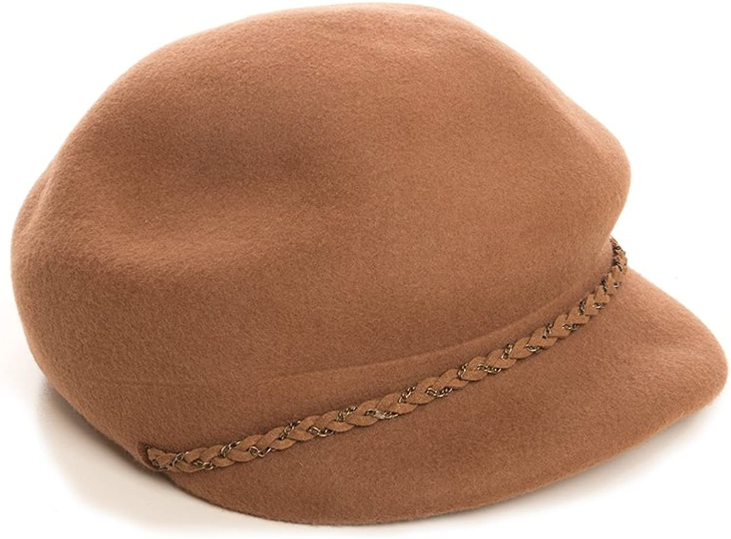 Nine West Womens Wool Newsboy Hat With Chain Trim, OS (Brown)