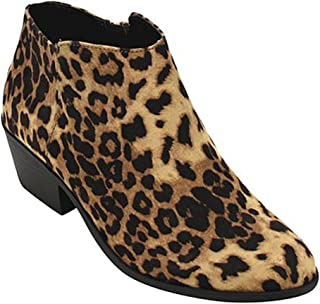 Women's Round Toe Faux Suede Stacked Heel Western Ankle Bootie, Clay, 85 M US
