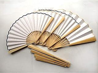 Ventilador Plegable Gran Ventilador de bambú Blanco Plegable Papel de arroz Ventiladores de Mano Pintura de caligrafía para Adultos DIY Fiesta Personalizada Fans10pcs