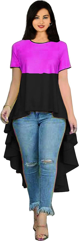 Lakkar Haveli Women Long Dress High Low Pattern Tunic Wedding Wear Casual Frock Suit Loose Fit Maxi Dress Black & Pink