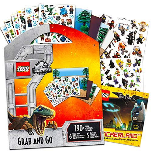Lego Jurassic World & Batman Stickers Party Supplies Set ~ 12 Lego Batman & Lego Jurassic Park Party Favors Sheets (300+ Stickers)