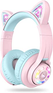 iClever Cat Ear Bluetooth Headphones RGB LED Light Up Over Ear with Microphone, 74/85/94dB Volume Limiting Comfort Foldabl...