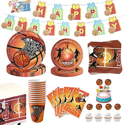 Noe Juego de 158 piezas para fiestas de baloncesto para niños cumpleaños, fiestas de baloncesto con platos, servilletas, vasos, etc., decoración para 16 personas