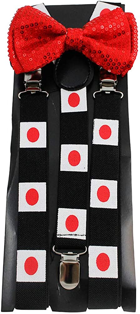 Japan Japanese Bow Tie and Suspender Set Combos Mens