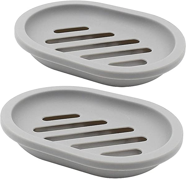 TOPSKY 2 Pack Soap Dish With Drain Soap Holder Soap Saver Easy Cleaning Dry Stop Mushy Soap Grey
