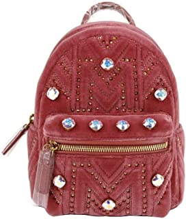 MCM Women's Quartz Pink Velvet Xmini Backpack With Swarovski Crystals MWK9SVE06QB001