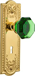Nostalgic Warehouse 725640 Meadows Plate with Keyhole Privacy Waldorf Emerald Door Knob in Unlaquered Brass, 2.375