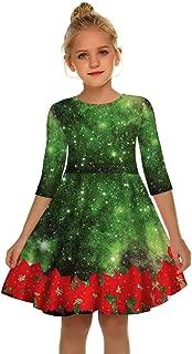 YALANK Kids Girls O-Neck Half Sleeve Christmas Dress Plaid Skirt Casual Dress Floral Print Dance Gown
