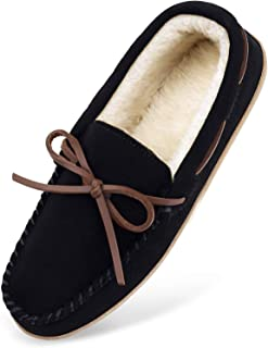 HOSWO Men's Slippers, Moccasins Sheepskin Slippers for Men Memory Foam Breathable Ourdoor Indoor Suede Slip on House Shoes...