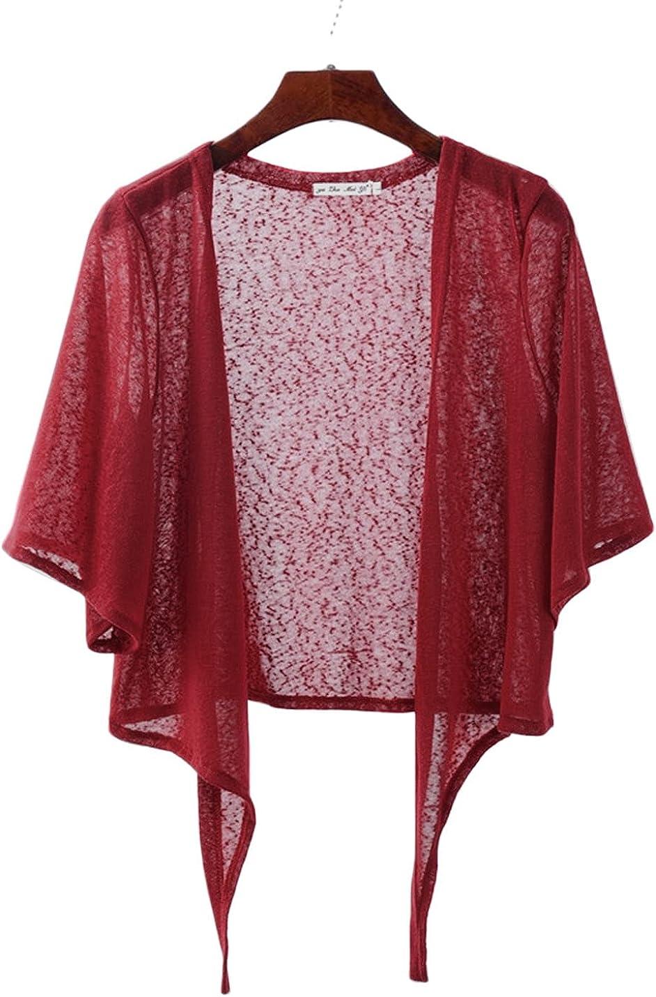 PEHMEA Women's Open Front Cardigan Casual Half Flare Sleeve Tie Front Bolero Shrug(red, x-Large)