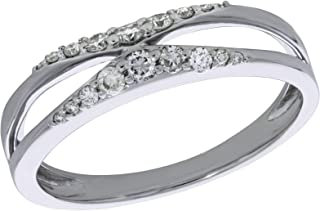 Clearance 0.21Ct Natural Diamond Split Style Wedding Band,10k White Gold Size 7
