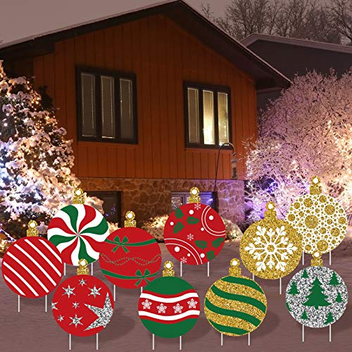 Elcoho 10 Pieces Christmas Balls Yard Signs Christmas Yard Signs Lawn Decorations Holiday Yard Signs Lawn Decorations with Stake for Christmas Decorations