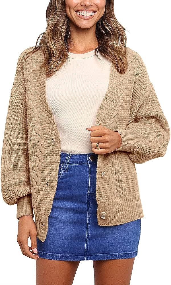 Apbondy Womens V Neck Button Down Cardigan Open Front Long Sleeve Outerwear Sweater Coat