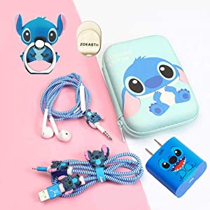 ZOEAST(TM) DIY Animal Cartoon Cable Protector 18W 20W USB Charger Saver Charging Data Earphone Line Bite Organizor Compatible with All iPhone 11 12 Pro Max Mini etc USB Wire (Stitch Advanced)