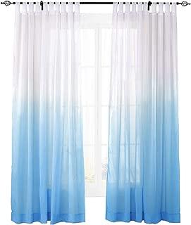 ChadMade Indoor Outdoor Gradient Ombre Sheer Curtain Tab Top Blue 150