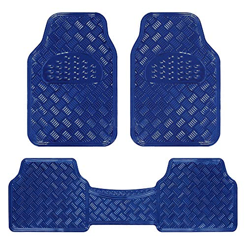 BDK Universal Fit 3-Piece Set Metallic Design Car Floor Mat-Heavy Duty All Weather with Rubber Backing (Navy Blue), MT-643-BL