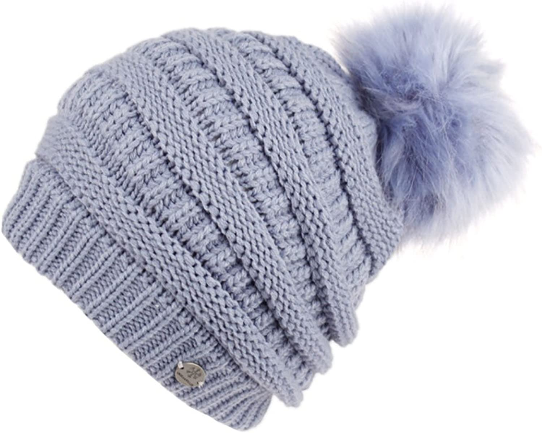 ANGELA & WILLIAM Slouchy Knit Beanie with Faux Fur Pom Pom