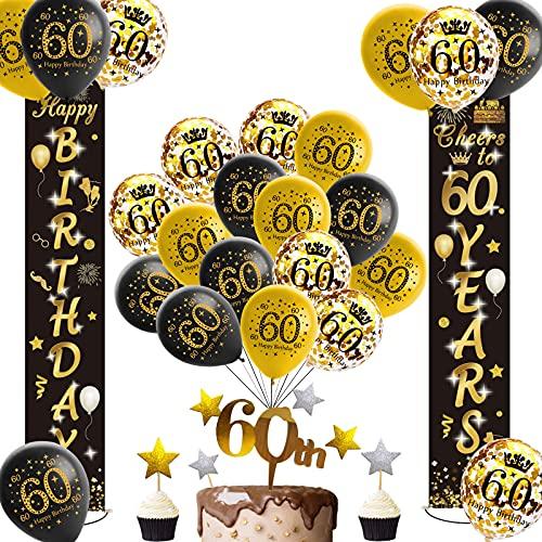 60 Geburtstag Dekoration Schwarzes Gold,Happy Birthday 60 Deko,Luftballons 60 Jahre,60 Geburtstag Banner mit Happy Birthday Tortendeko für Mann Frauen Geburtstag Dekoration