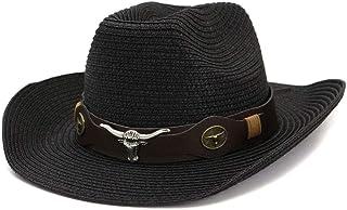 Duyani 2019 Hombres Mujeres Sombrero de Vaquero de Paja al Aire Libre Verano Sombreros de Playa Protector Solar cinturón Grueso Visera Cabeza de Vaca (Color : Black, Size : 56-58cm)