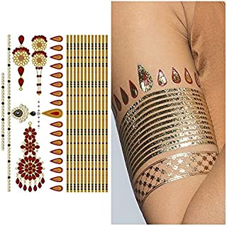 Tattify Gold And Ruby Armband and Bindi Temporary Tattoo - Indian Princess Sheet 1 (Set of 1 sheet) - Other Styles Available - Fashionable Temporary Tattoos - Long Lasting and Waterproof