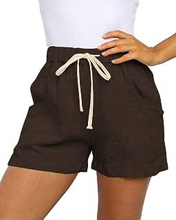 YIBOCK Women Casual Elastic Waist Shorts Summer Linen-Cotton Drawstring Beach Shorts with Pockets