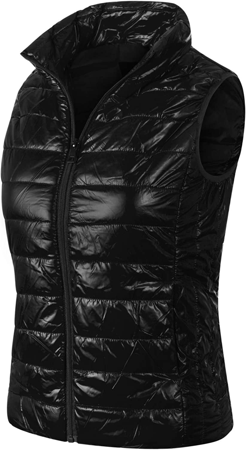 Instar Mode Women's Casual Warm Lightweight Quilted Puffer Down Vest Jacket Coat