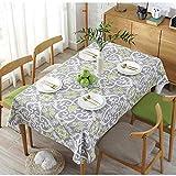 NoNo Graue Tischdecke Mit Retro-Muster,Rechteckige Baumwolltischtuch,Haushaltstischdecke,Hausküche Picknick Gartentischdecke,Cafe-Bar-Tischtücher-140X180cm