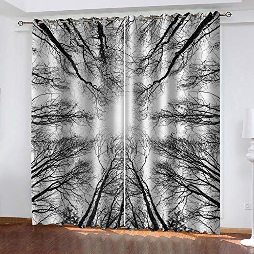 WLHRJ blackout curtains for bedroom living rooms kids kitchen window 3D Digital printing curtains eyelet - 110x63 inch - Black and white woods scenery