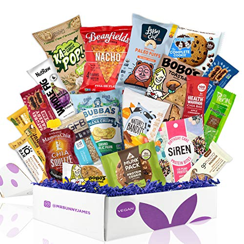 Healthy Vegan Snacks Care Package: Mix of Vegan Cookies, Protein Bars, Chips, Vegan Jerky, Fruit & Nut Snacks, Great Vegan Christmas Gift Basket Alternative