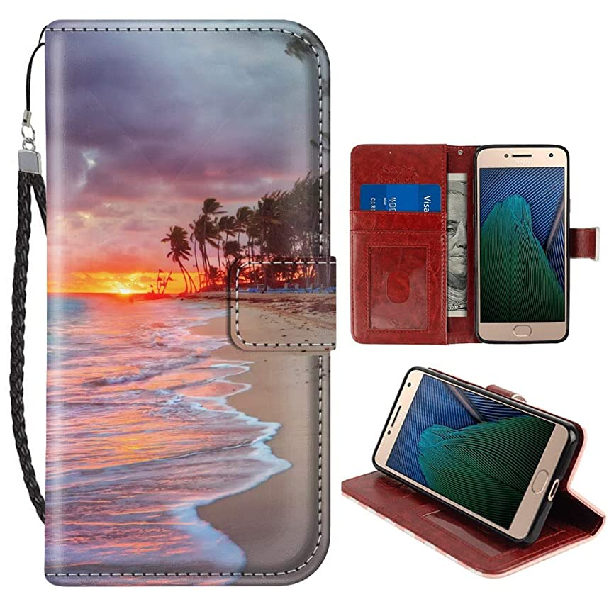 Beach Landscape Moto G5 Plus Wallet Case for Kickstand PU Leather Card Slot Magnetic Flip Wristlet Phone Cover Motorola G5 Plus Case Beach Landscape