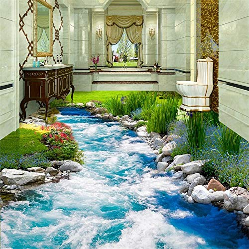 Tapeten Wandbild Hintergrundbild FototapeteWasser Moderne Boden Aufkleber 3D Wandmalerei Badezimmer Wandbild Selbstklebende Pvc Fototapete Tapete Wandbelag, 105 * 150 Cm