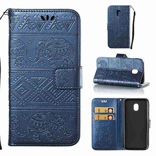 pinlu Schutzhülle Für Samsung J3 2017 (Euro Version) J330 Handyhülle Hohe Qualität PU Ledertasche Brieftasche Mit Stand Function Elefanten Muster Navy Dunkelblau