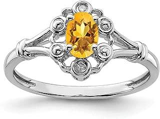 925 Sterling Silver Yellow Citrine Diamond Band Ring Birthstone November Gemstone Set Fine Jewelry For Women Gift Set