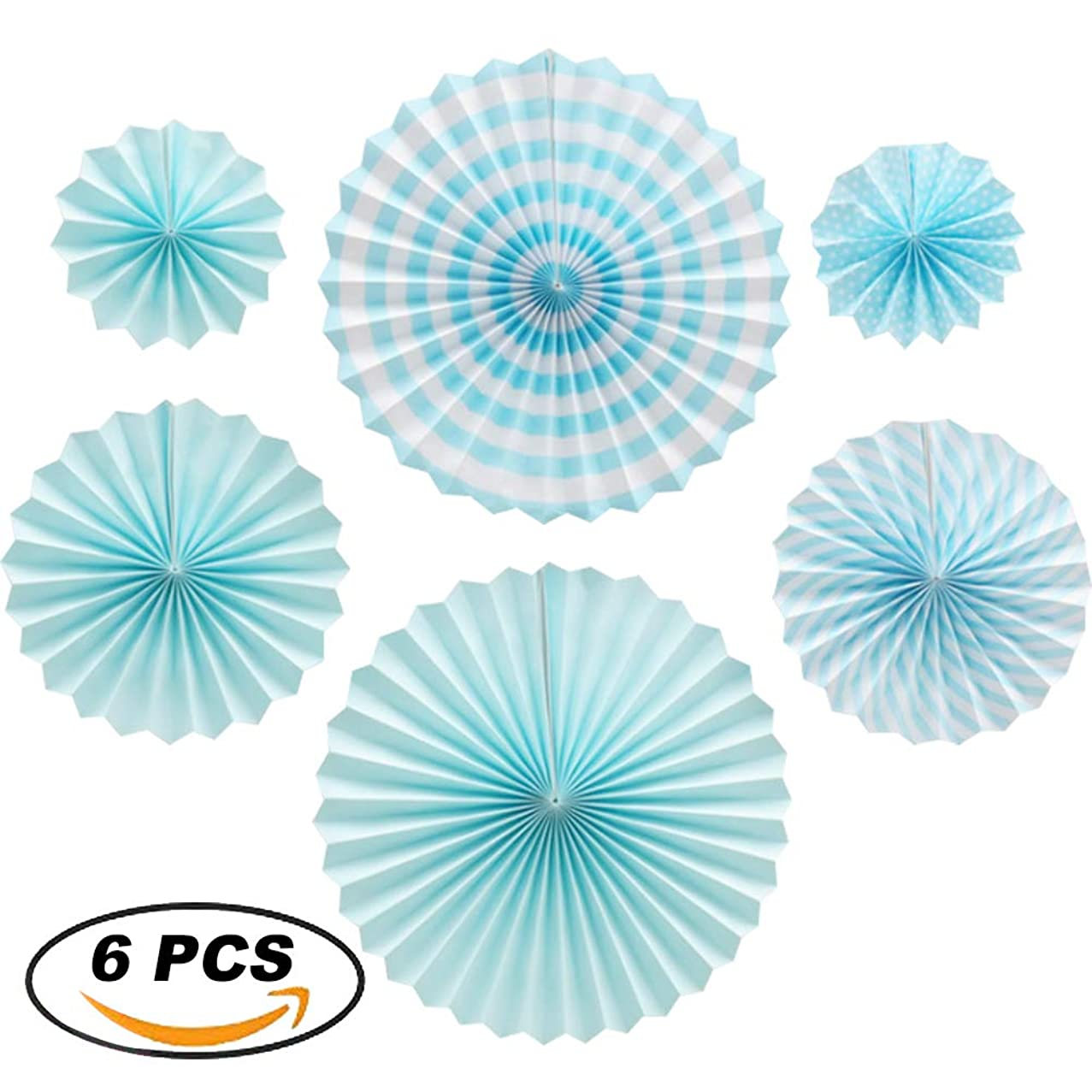 XYHOO Party Hanging Paper Fans Set, 6 pcs Blue Pattern Paper Garlands Decoration for Birthday Wedding Graduation Events Accessories. (Blue)