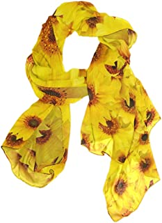 MASSIKOA Women's Scarves Sunflowers Yellow Shawl Wraps Silk Scarf