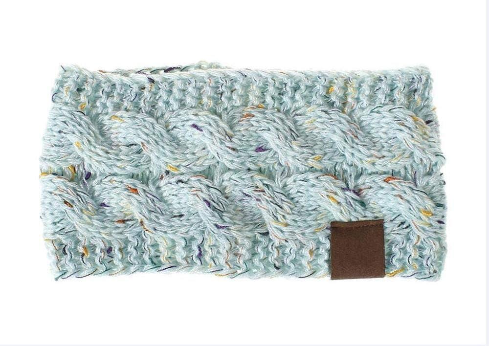 Baby Fan Multi Colorful Knitted Crochet Twist Women Headband Winter Ear Warmer Elastic Hair Band for Women's Wide Hair Accessories (Color : Light Blue)
