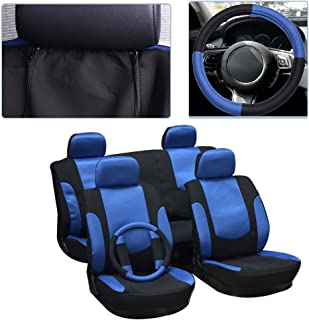 cciyu Seat Cover, Universal Car Seat Cover w/Headrest Cover/Steering Wheel/Shoulder Pads - 100% Breathable Washable Auto Seat Cover Replacement Replacement fit for Most Cars(Black/Blue)